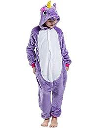 Kigurumi Unisexo Niños Animal Pijamas Carnaval Halloween Navidad Cosplay Disfraz Unicornio Amarillo