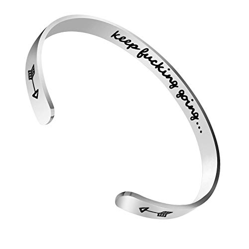fe329f1ef91f6 CNNIK Stainless Steel Alphabet Cuff Bracelet, Inner Engraved Keep Fucking  Going Bangles for Women Men Girls Boys, Inspirational Gift for Birthday, ...