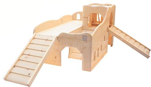 Resch Nr34 Meerschweinchen Erlebnisburg naturbelassenes Massivholz aus Fichte/mit Einer Heuraufe im Türmchen, Zwei Eingängen im Erdgeschoss und Zwei Treppen die in die Burg Führen (Misc.)