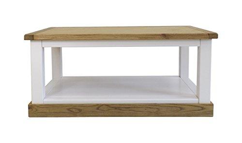 Embouts pour Meuble Table Basse Ouvert avec ciré carré Jupe, Bois, Blanc