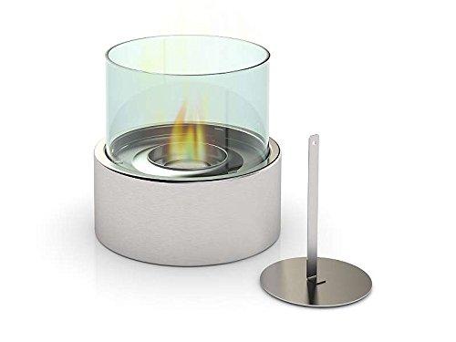 *Edelstahl Design Bio-Ethanol Tisch-Kamin rund für Innen und Außen Glaskamin Dekofeuer (Größe ca. Durchmesser 16 cm x Höhe 15 cm)*
