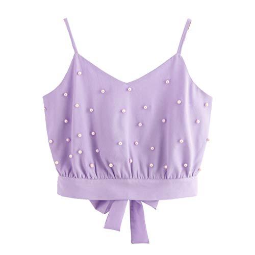 HULKY Fashion Frauen Zurück V-Ausschnitt Weste Chiffon Leibchen Tops Ärmellose Perlen Perlen Crop Cami Top Bluse Leibchen(Violett 1,XL) Cam Bundle