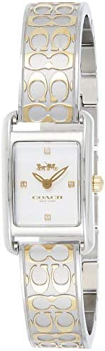 Coach Womens Silver White Dial Two Tone Stainless Steel Watch - 14503381