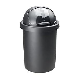 Rotho Roll Bob runder Mülleimer 30 l mit Deckel , Kunststoff (PP), schwarz, 30 Liter (35,5 x 35,5 x 59,5 cm)