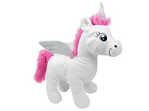 Peluche Licorne doudou nounours drôle doux idée cadeau noel anniversaire enfant fille garçon Douce Mignon avec des ailes tout doux à câliner craquant Doté d'un pouvoir magique, choisir:P440003 blanc