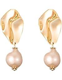0778d364eedb Arracadas Diseño Artesanal Redondos 925 Plata Perlas 18K Oro Pendientes  Barroca Dorados Mujer Mariage