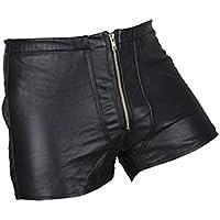 Milisten Lencería Sexy de Charol para Hombre Pantalones Cortos de Tanga Huecos Pantalones Ajustados Arnés Ropa Interior Trajes de Escenario Ropa -Tamaño Xl (Negro)