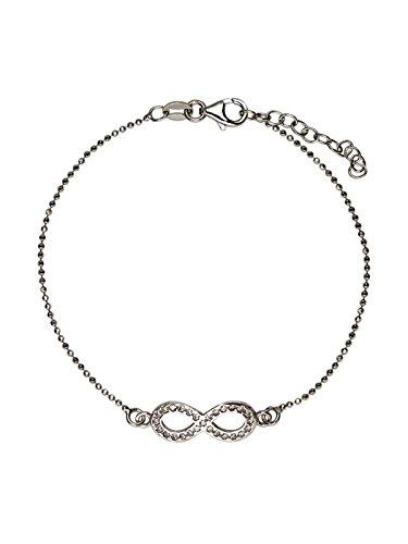 Aka gioielli - bracciale donna infinito con zirconi in argento 925 rodiato, idea regalo