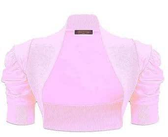 LADIES SHORT SLEEVE RUCHED SHRUG WOMEN BOLERO TOP OVER 10 COLOURS SIZE S/M-ML (S/M, Baby Pink)