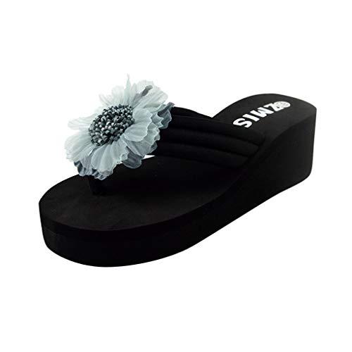 B-commerce Damen Sommer Blumen Zehe Flip Flops Sandalen Mit Rom Stretch Stoff Freizeit Faule Strand Schuhe Weiche Hause