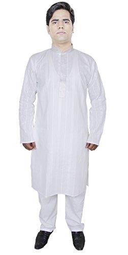 Abito pantaloni da uomo una Kurta pigiama per il matrimonio abiti etnici bianco taglia XL