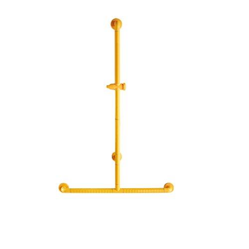 XUEYAN Duschraum Sicherheit Rutschfest Handlauf, Dusche Halterung Hubstange Badezimmer Dusche T-Typ Splitterschutzrahmen (Farbe : Gelb)