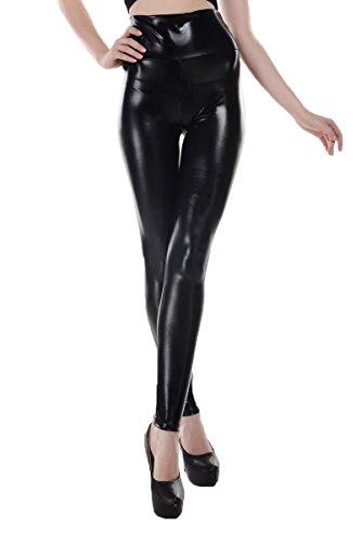ELLAZHU Women Metallic Stretch Faux Leather Legging Pants Onesize 2143 Black