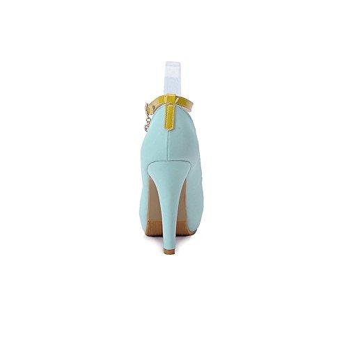 Adee Damen Metalornament High-Heels Polyurethan Sandalen Blau