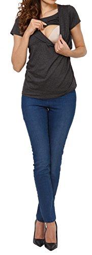 Happy Mama. Damen Umstandsmoden Top Stillshirt Lagendesign Empire-Taille. 790p Graphit Melange