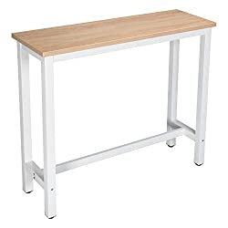 WOLTU Kitchen Bar Table Breakfast Dining Table Light Oak Coffee Table Party Table Metal in White Frame with Footrest, 120x40x100cm