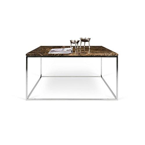 Paris Prix - Temahome - Table Basse Gleam 75cm Marbre Marron & Métal Chromé