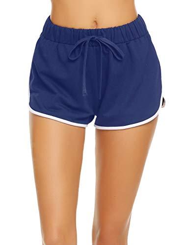 Damen Kurze Hose Shorts Schlafanzughose Schlafhose Yoga Sporthose Running Gym Beiläufige Elastische Shorts, Dunkelblau, Gr. XXL(48)