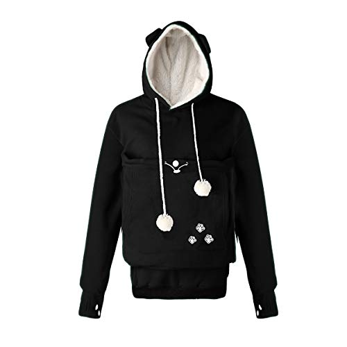 Unisex Haustier Hund Katze Hoodie Känguru Tasche Tasche Pullover Träger Polar Fleece Sweatshirt Top (Color : Black, Size : XXXXL) Polar-fleece-top