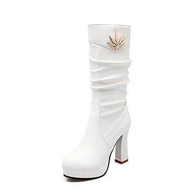 Rtry Femmes Chaussures Mode Simili Cuir Bottes D'hiver Bottes Talon Chunky Bout Rond Mi-mollet Bottes Pour Vêtements De Sport Rouge Blanc Noir Us8 / Eu39 / Uk6 / Cn39