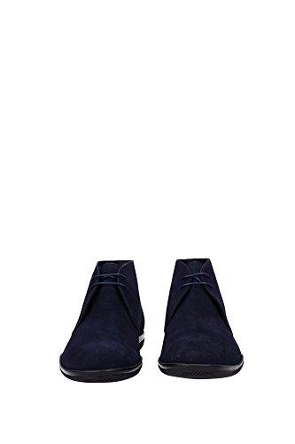 Prada bottines demi-bottes homme en daim cape blu Bleu