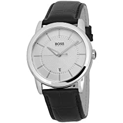 Hugo Boss Men's Quartz Watch with Silver Dial Analogue Display and Black Leather Strap 1512625