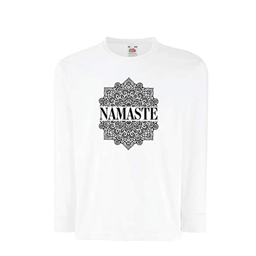 lepni.me Kinder-T-Shirt mit Langen Ärmeln Meditation Yoga Namaste Mandala Zen Geistiges Geschenk für Yogi (5-6 Years Weiß Mehrfarben) -