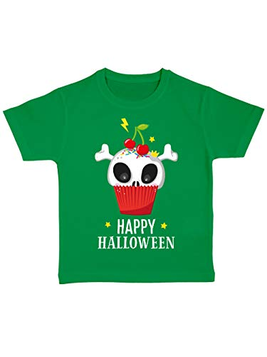 clothinx Kinder T-Shirt Bio Halloween Cupcake Grün Größe 92