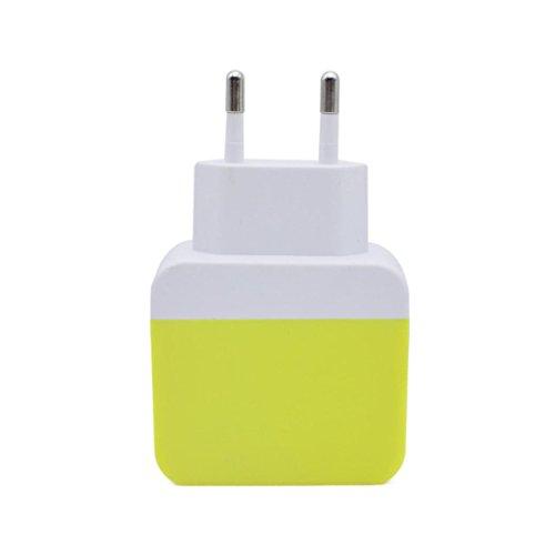Magiyard 5V 2A Dos puertos USB UE Wall adaptador de corriente Adaptador de carga rápida Adaptador (Amarillo)