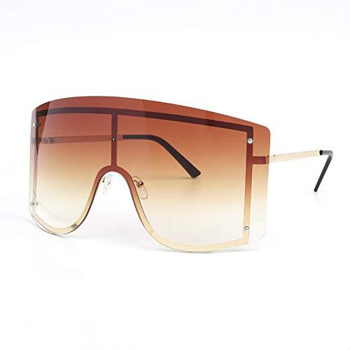 QDE Sonnenbrillen Übergroße Blau-Gelb-Gradient-Sonnenbrille-Frauen-Rotes Randloses Metall-Weibliche Sonnenbrille Shades, C