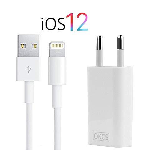 OKCS Ladegerät kompatibel für iPhone - USB 8-Pin Ladekabel 2 Meter + Netzteil für iPhone XR, XS, XS Max, X, 8, 8 Advancement, 7, 7 Appurtenance, iPad 4, Pro, Mini, 2 - in weiß