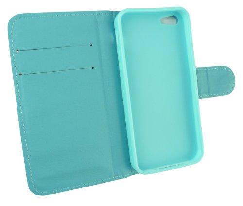 Emartbuy® Sparkling Pack Stylet Pour Apple Iphone 5 5S Diamante Wallet Case / Étui / Housse / Bleu Pouch Avec Emplacements Pour Les Cartes De Crédit + Sparkling Metallic Bleu Stylet + Pr