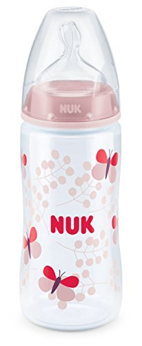 NUK 10216208 First Choice Plus Babyflasche, kiefergerechter Trinksauger, 300 ml, 6-18 Monate, rosa
