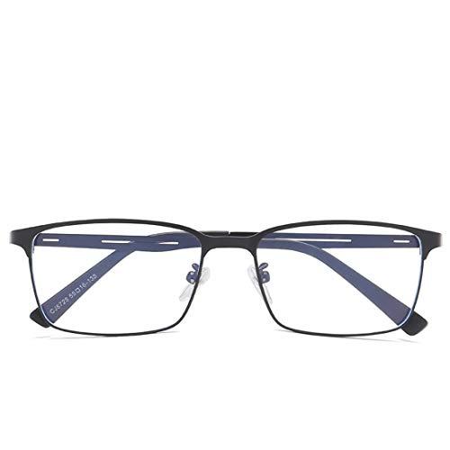 Chengduaijoer Quadratische Art und Weise Anti-Blaue Metallgläser Nicht verschreibungspflichtige Brillenmännerfrauen (Color : Black)