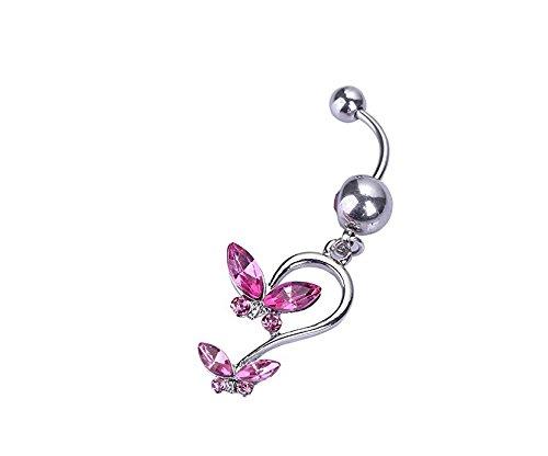 yeah67886Fashion Kristall Schmetterling baumeln Bauch Barbell Ring Body Zubehör (Pink) (Bauch Butterfly Ring)