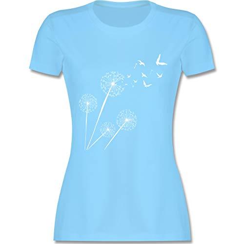 Statement Shirts - Pusteblume Vögel - XL - Hellblau - L191 - Damen Tshirt und Frauen T-Shirt