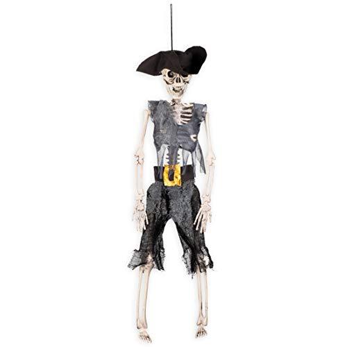 eko-Skelett Pirat | 40 cm | Schaurige Party-Dekoration Gerippe zum Hängen | EIN Highlight für Horror-Party & Piratenparty ()