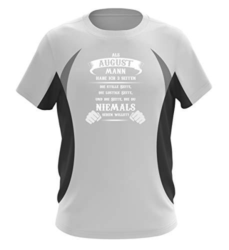 Als August Mann Habe ich 3 Seiten Shirt - Herren Laufshirt tailliert geschnitten -M-Schwarz-Weiss -