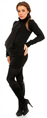 Happy Mama Femme Pull long de grossesse poche kangourou col roulé. 456p Noir