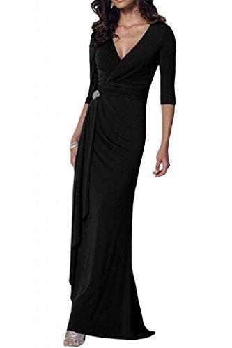 Chiffon élégant toscane mariée avec décolleté en v longueur fixe abendkleider brautmutter ballkleider party Noir - Noir
