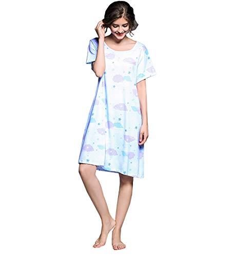 Unbekannt Damen Nachthemd lang, modal lose bequem weich atmungsaktivkurzärmlig V-Ausschnitt Nachtwäsche, Damen Homedress Nightgown,M