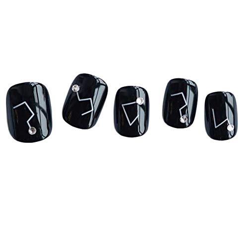 Konstellation - schwarze kurze falsche Fingernägel künstliche Nägel Dekor Nägel ()