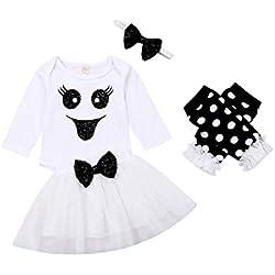 Disfraz Halloween Niña Conjunto de Bebé Recién Nacida con Camisa Manga Larga Falda de Tutú Diadema y Calentador Traje de 4 Piezas para Niñas 80(6-12Meses)