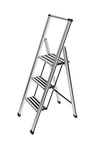 WENKO Alu-Design Klapptrittleiter 3-stufig, rutschfeste Haushaltsleiter, Sicherheits-Stehleiter, 44 x 127 x 5.5 cm, silber matt