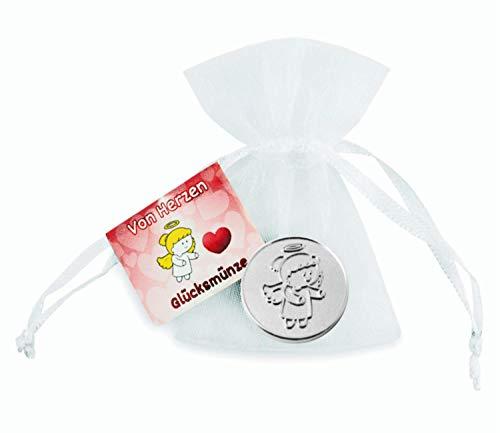 EnerChrom Schutzengel Glücksmünze - Von Herzen - Engel Lovely Lilli - 1 Stück - Farbe Silber - Glücksbringer Talisman Chip-on-glas