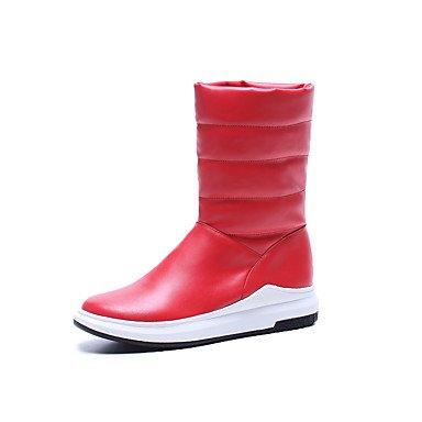 RTRY Scarpe Donna Similpelle Fall Winter Snow Boots Fashion Stivali Stivali Piattaforma Punta Tonda Mid-Calf Scarponi Per Outdoor Casual Rosso Bianco Nero US6 / EU36 / UK4 / CN36