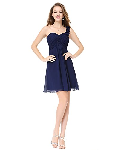 Ever Pretty Robe de Demoiselle d'honneur en Coeur V-col au genou 03539 Bleu Marine