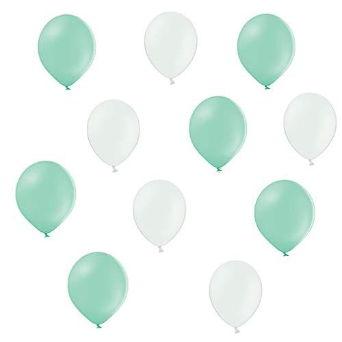 ftballons in Mint Grün / Weiß - Made in EU - 100% Naturlatex somit 100% giftfrei und 100% biologisch abbaubar - Geburtstag Party Hochzeit - für Helium geeignet ()