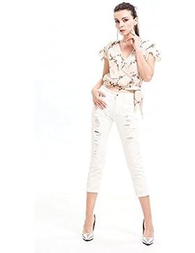 Elegante camisa de gasa de flores de forma irregular de manga corta camiseta