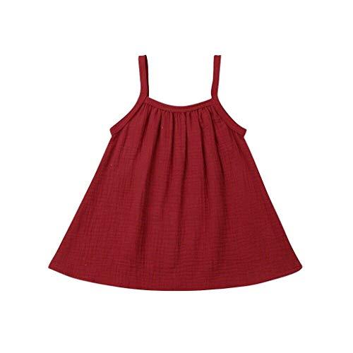 Livoral Baby Madchen Hairband Kleinkind Baby Kinder Mädchen Ärmellos Geraffte Feste Kleidung Freizeitkleidung(Rot,90) (Grüne Fee Teen Kostüm)